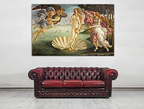 Cuadro Lienzo El Nacimiento de Venus de Sandro Botticelli - Lienzo de Tela Bastidor de Madera de 3 cm - Fabricado en España - Impresión en Alta resolución – Varias Medidas (50, 31)