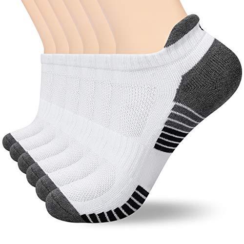 coskefy 6 Paar Sneaker Socken Herren Damen Gepolsterte Laufsocken 35-50 Schwarz Weiß Grau Baumwolle Sportsocken Atmungsaktiv