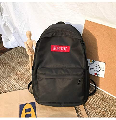 Modieuze tassen schoudertas universiteit wind campus studenten tas mode tekst sticker rugzak grote capaciteit, blue (zwart) - 9870934703824
