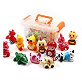 CRAZY LEDI 12 Pieces Wind-up Toys for Kids Birthday Gift, Baby Early Education Clockwork Toy Storage Box, Animal Wind up Toys Set