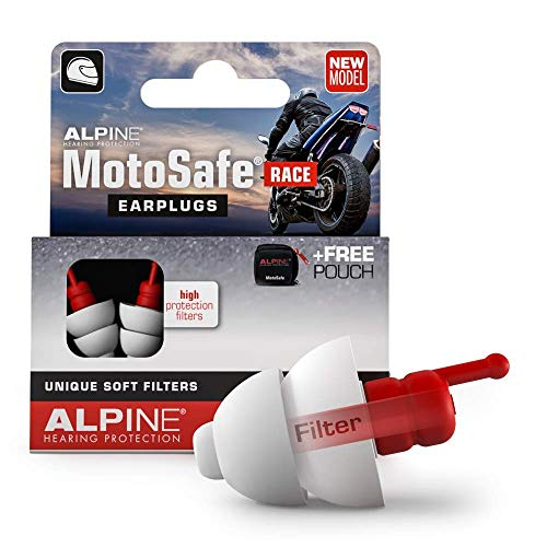Alpine MotoSafe Race Reusable Ear Plugs – Motorcycle Ear Plugs – Noise Reduction & Ear Protection - Motorcycle Earplugs for Tracks & Open Helmets - Hypoallergenic Reusable Earplugs…