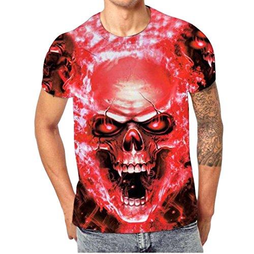 FEITONG Herren 3D Druck T-Shirt in vielen Farben | Basic Shirt mit O-Ausschnitt | Schädel T-Shirts Kurzarm Tops Sommer Tee (L, 04-Rot)