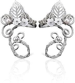 YOOE Elegant Crystal Butterfly Elf Ear Cuff,Earless Hole Fairy Elf Flower Vine Ear Clip Ear Hanging Cosplay Czech Drill Earrings for Womens Jewelry