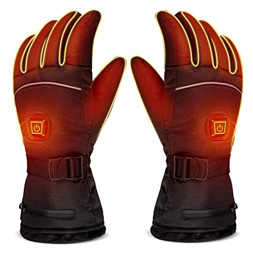 EXCLVEA Heated Gloves 3 Modes Electric Heating Built-in Battery Gloves Control Winter Waterproof Heated Glove for Skiing Riding (Color : Black, Size : Large)