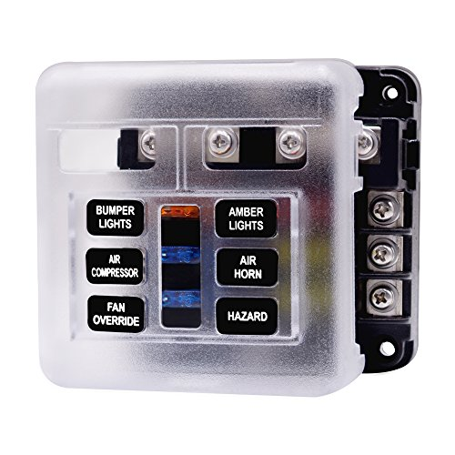 JJZXZQ Sicherungshalter, Car Fuse Box 32V Mit LED-Anzeige Schutzhülle, Unabhängiges Positiv Und Negativ, Auto-Boots-SUV Meer,6 Way with Fuse