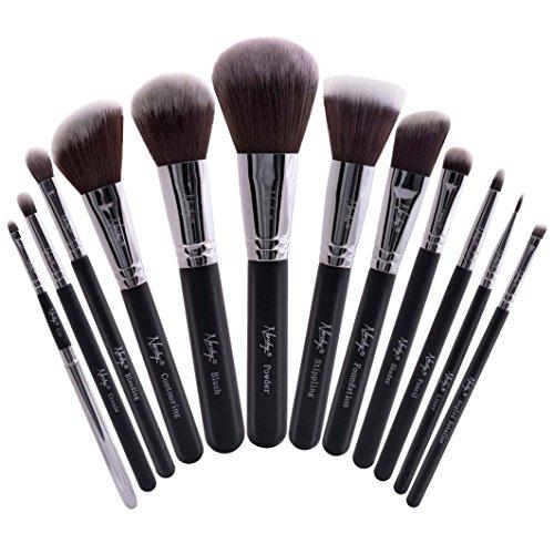 Nanshy Masterful Collection Professional Soft Vegan 12pcs Makeup Brush Set Pro Artist Kit (Onyx Black)