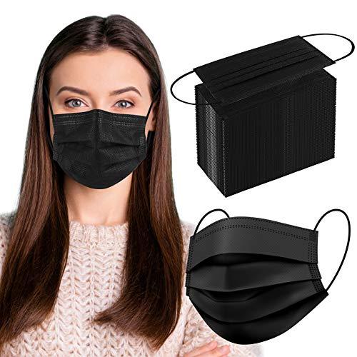 Medizinische Masken Schwarz 50 Stück, Masken Mundschutz Einweg, 4-lagige Medizinische Gesichtsmaske, Atemmaske, Mund- und Nasenmaske mit Ohrschlaufen und Nasenstreifen