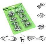 Metal Wire Puzzle Set of 8, Brain Teaser IQ Test Iron Link Unlock Interlock Game Chinese Ring Magic Trick Toy for Party Favor Kids Adults Challenge (Green)