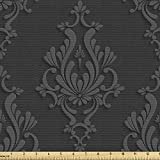 Ambesonne Dark Grey Fabric by The Yard, Antique Damask Pattern in 3D Style Classic Old Fashioned Floral Design, Decorative Fabric for Upholstery and Home Accents, 1 Yard, Charcoal Grey