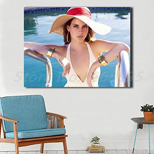 Leinwand Malerei Wohnzimmer Wohnkultur Wandkunst Ölgemälde Poster Tragen Einen Hut Im Schwimmbad (Kein rahmen) 30x45 CM