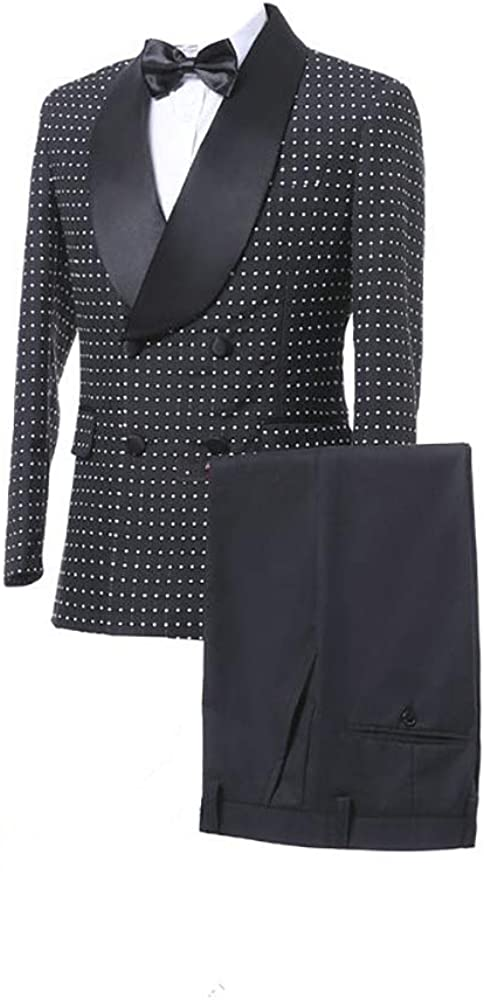 HOTK Men's Suits Slim Fit Black Lapel 2-Piece Set Limited price Bombing free shipping Shawl fo