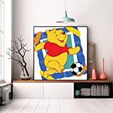 Paint by Number Kits 16 x 16 inch Canvas DIY Oil Painting for Kids, Students, Adults Beginner with Brushes and Acrylic Pigment -Classic Animation Winnie The Pooh Play Football(Without Frame)