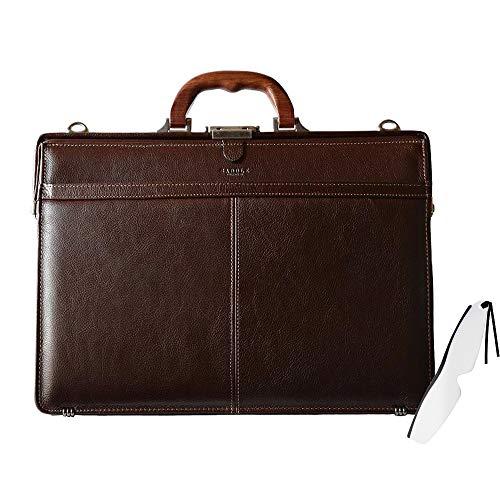 少量生産「豊岡の職人が魂を込めた本革ダレスバッグ」天然木手仕様(日本製 豊岡鞄 A4ファイルサイズ メンズバッグ ビジネスバッグ)SADDLE (ブラウン) #22329しおり型ルーペ付き