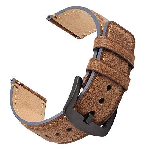 Fullmosa Cinturino Orologio 22mm,Ricambio di Cinturino,Cinturini per Orologi per Samsung/Huawei Sgancio Rapido, Cinturini in Pelle per Uomo e Donna,Watch Straps Compatible con 18mm 20mm 22mm