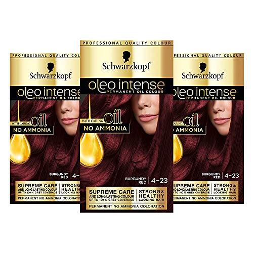 Schwarzkopf Oleo Intense Red Haarfarbe, 3er Pack Permanente Ölfarbe, ohne Ammoniak, deckt Grau, Burgunderrot 4-23