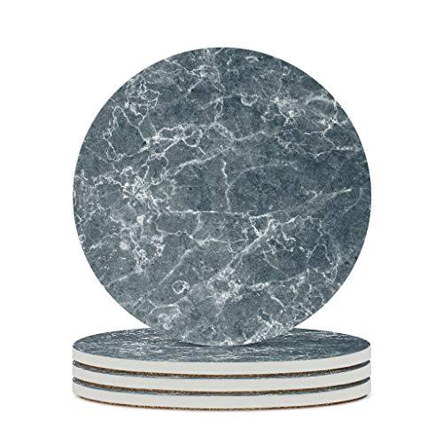 Fineiwillgo Posavasos de cerámica con textura de mármol, redondo, protector de cerámica con parte trasera de corcho, diseñado para jarrones caseros, diámetro de 9,8 cm, color blanco, 6 unidades