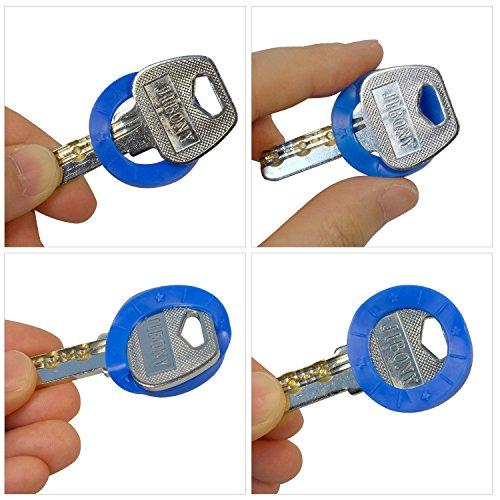 Pawfly 更新したキーキャップ 36個 タグ付き プラスチック キーIDコーディングリング 9色
