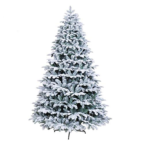 General Packaging Classic White Spray Xmas Tree Realistic Natural Branches Green Christmas Tree [5FT/6FT/7FT/8FT] (7FT (210cm))