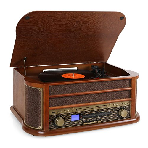 auna Belle Epoque 1908 - Tocadiscos estéreo Retro, Accionamiento por Correa, Radio Digital, Reproductor de CD, MP3, RDS, Casete, USB, Digitalizador, Mando a Distancia, Marrón