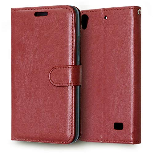 JEEXIA® Funda para Huawei G620s, Moda Business Flip Wallet Case Cover PU Cuero con Soporte Cubierta Protectora - Marrón
