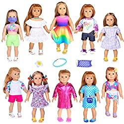 🎁 Package Includes: 10 Sets Clothes (Doll and Shoes are NOT included) 😘 Perfect fit for 18 inch american girl doll ✨ Soft and Safe Material made. And we handmade the clothes with love, designed especially for the special doll in your life. 👑 A variet...