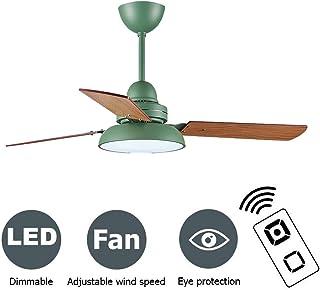 PPAMZ Ventilador de Techo LED Lámpara, Regulable Ventilador de Techo Lámpara, 3 Fan blades in Wood, Luz de Techo del Ventilador de Bajo Ruido, para Sala de Estar Dormitorio Habitación Infantil,Verde