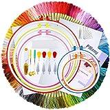 Pllieay - Kit de bordado con hilo de bordado de 100 colores, 5 piezas de aros de plástico para bordar, 2 piezas de Aida de reserva clásica y kit de herramientas de punto de cruz para coser