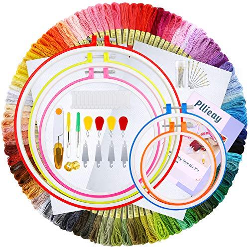Pllieay - Kit de bordado con hilo de bordado de 100 colores, 5 piezas de aros de plástico...