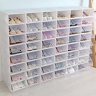 Lot de 20 boîtes à chaussures empilables en plastique transparent avec porte transparente