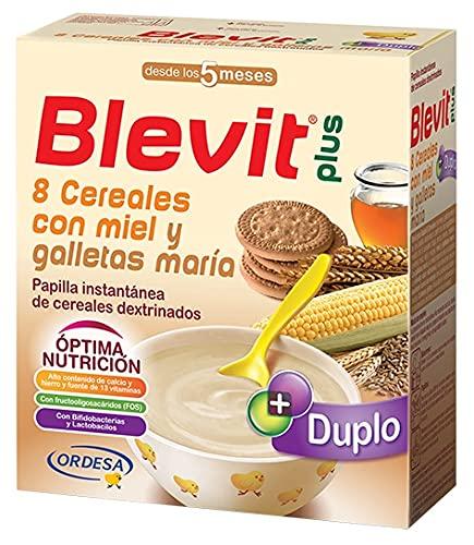 Blevit Plus Duplo 8 Cereales con Miel y Galletas María - Papilla de Cereales para Bebé con Fibra y elevado Valor Nutricional - Favorece la Digestión - Desde los 5 meses - 600g