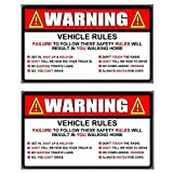 OwnTheAvenue x2 Warning Rules Decal Sticker Funny JDM Car Truck SUV 5'