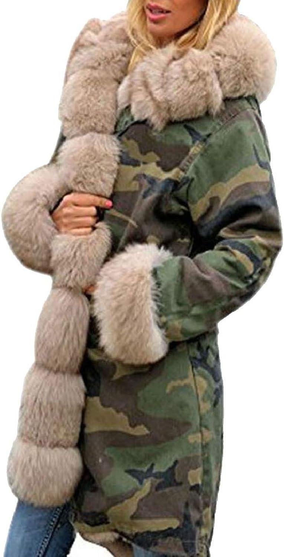 QDCACA Women Outdoor FauxFur Collar Hooded Camouflage Overcoat Trench Coat