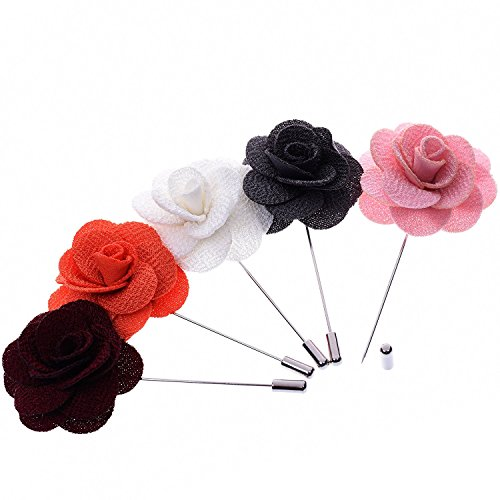 BT-RSTT Pack of 5 Men's Lapel Pin Flower Handmade Boutonniere for Suit (Pink#White#Grey#Wine Red#Orange)
