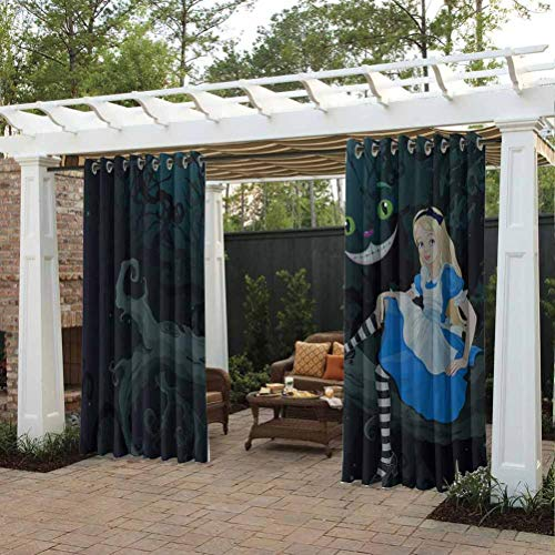 Alice in Wonderland High-end Curtains Outdoor Curtain Gazebo Christmas Decoration Alice Sitting on Branch and Chescire Cat in Darkness Cartoon Style Multicolor