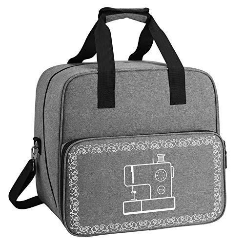 Bolsa para máquina de coser Coopay, bolsa de mano para equipo de costura hecha a mano con relleno y bolsillo lateral con cremallera, se adapta a la mayoría de fundas para máquinas de coser, gris