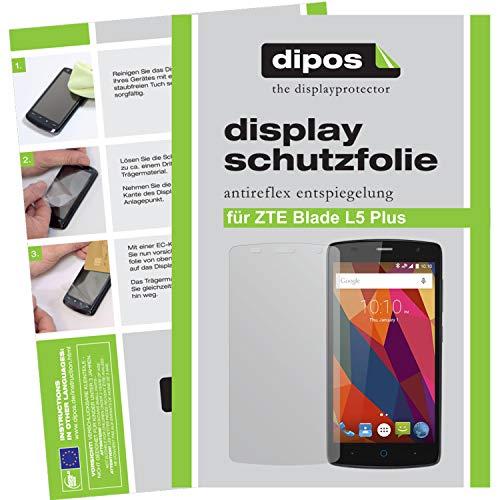 dipos I 2X Schutzfolie matt kompatibel mit ZTE Blade L5 Plus Folie Bildschirmschutzfolie