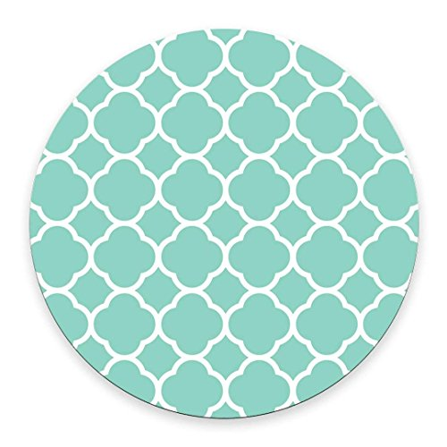 Non-Skid Natural Rubber Back Mint Quatrefoil Pattern Teal Turquoise Design Soft Mouse Pad Gaming Mousepad