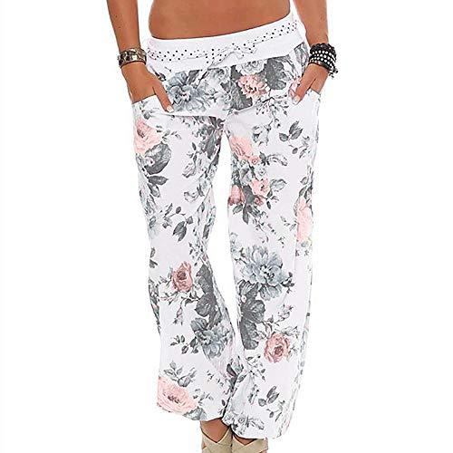 WOZOW Yoga Hosen Damen Boho Blumenmuster Floral Flowers Print Druck Hippie Loose Lose Lang Long Casual Low Waist Riemchen Haremshose Pumphose Übergröße Plus Size Trousers Stoffhose (L,Sahne)