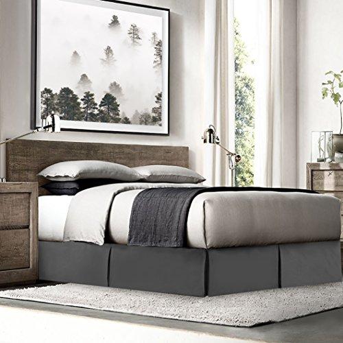Empyrean Bedding Bettröcke für King-Size-Bett, 8 Pins, Staub-Rüschen, King-Size-Bett, Mikrofaser, King-Size-Bett, 35,6 cm lang, Anthrazit