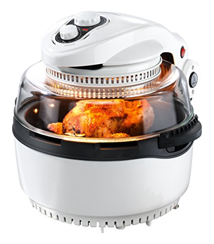 GOURMETmaxx 00974 Halogeen- & heteluchtkachel XXL | incl. frituurmand & draaispies | 11 liter ovenruimte | 1.400 Watt | wit-zwart