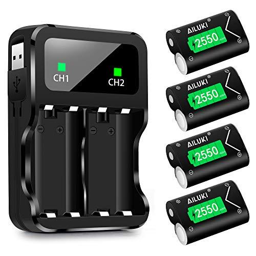 AILUKI 4 baterías de 2550 mAh para mando de Xbox One con cargador de dos canales, recargables, con cable de carga, estación de carga para Xbox One S/Xbox One X/Xbox One Elite/Xbox One
