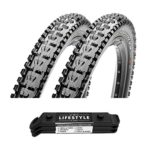 Maxxis High Roller II 3C Maxx Terra Compound Folding Tubeless Bike Tires (27.5 x 2.30) 2-Pack Bundle with Lifestyle by Focus Tire Levers