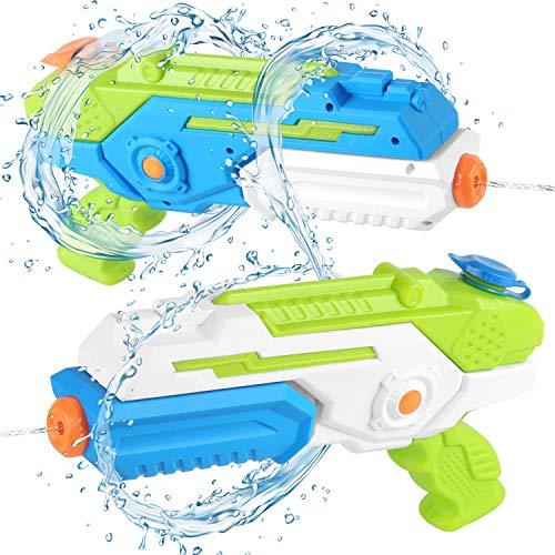 YISSVC 2 Pistolets à Eau Jouets Enfants 3 Ans avec 2x400ml Capacité Portée de Tir de 8 mètres Jeux Plein Air d'été Jouets de l'eau Garçons Filles pour Piscine Plage