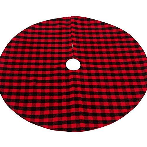 YuKeShop Pannow - Falda de árbol de Navidad de 35 pulgadas, color rojo y negro, doble capa, falda de árbol a cuadros para decoración de Navidad