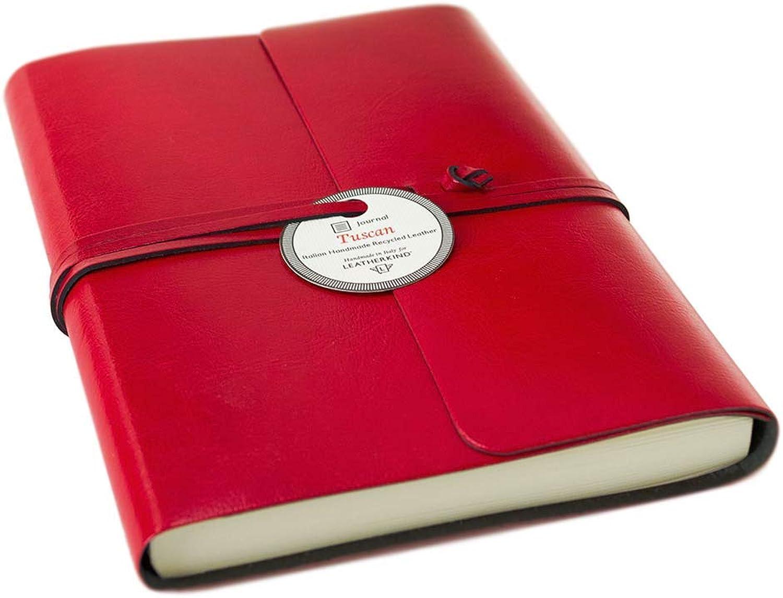 LEATHERKIND Tuscan Recyceltes Leder Notizbuch Rot, A5 A5 A5 Blanko Seiten - Handgefertigt in Italien B01HVAIRME | Bekannt für seine hervorragende Qualität  63b736