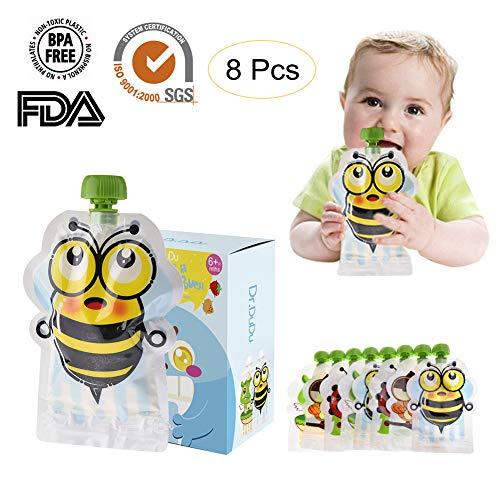 Herbruikbare Food Pouch Kit (8 Pack) BPA Gratis Geen Lek Knijp Tas Ontwerp Gemakkelijk Vul & Schoon - Grote Tassen voor Spenen Reizen Pureed Fruit Organische & Zelfgemaakte Baby Voedsel Baby's Peuters & Kinderen - 150ML