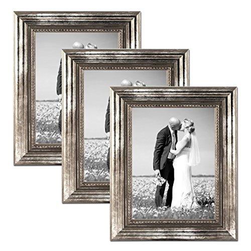 PHOTOLINI 3er Set Bilderrahmen 20x30 cm Silber Barock Antik Massivholz mit Glasscheibe und Zubehör/Fotorahmen/Barock-Rahmen
