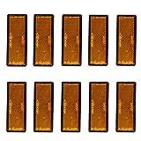 Yunnyp tira reflectante naranja para automóvil, reflectores rectangulares autoadhesivos reflectores 10pcs naranja para camión remolque