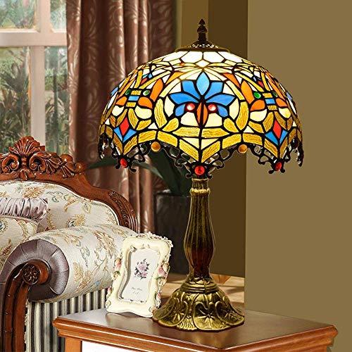 LHQ-HQ Europeo antiguo Tiffany estilo vidrieras flores sala de estar dormitorio mesita de noche lámpara restaurante bar metal retro bronce lámpara de mesa 30x30x49cm alto gusto