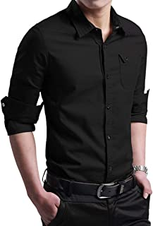 Men's Military Slim Fit Dress Shirt Casual Long Sleeve Button Down Dress Shirts